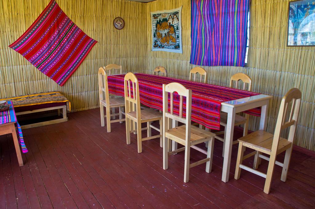 Dinning room in the Uros Islands, Peru