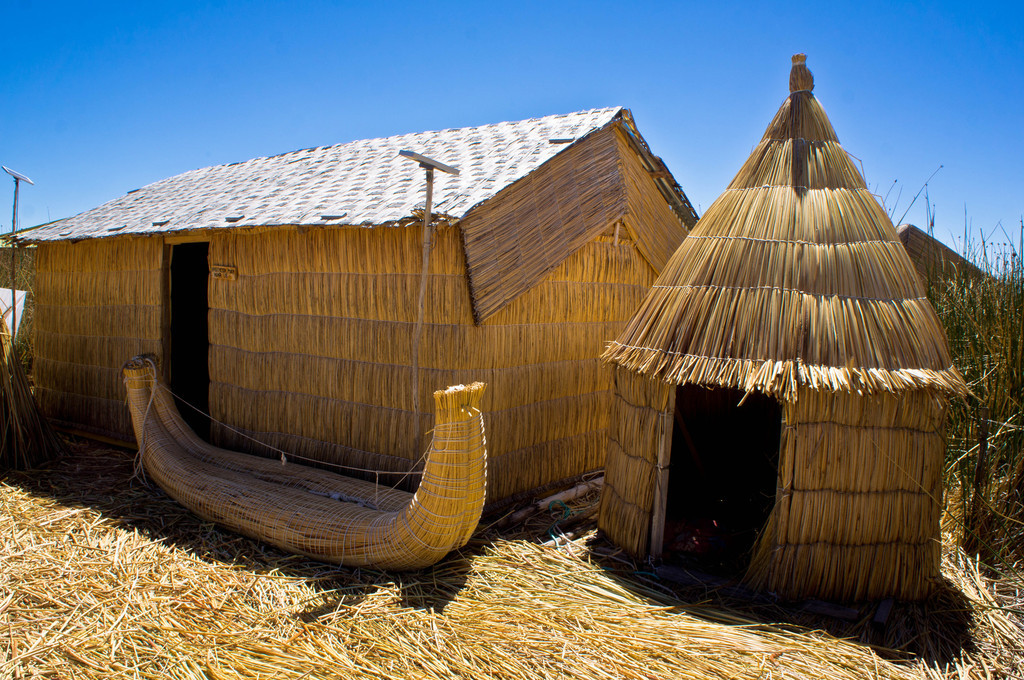 Houses in the Uros Islands, Peru