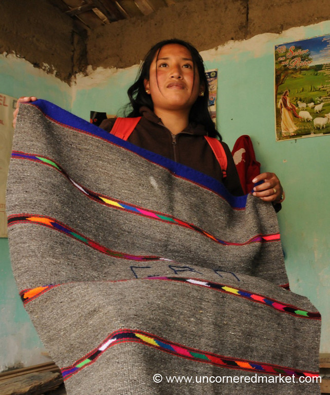 Showing Off Her Client's Work - Yauli, Peru