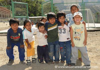 Schoolkids in Santa Teresa - Day 4 of Salkantay Trek, Peru