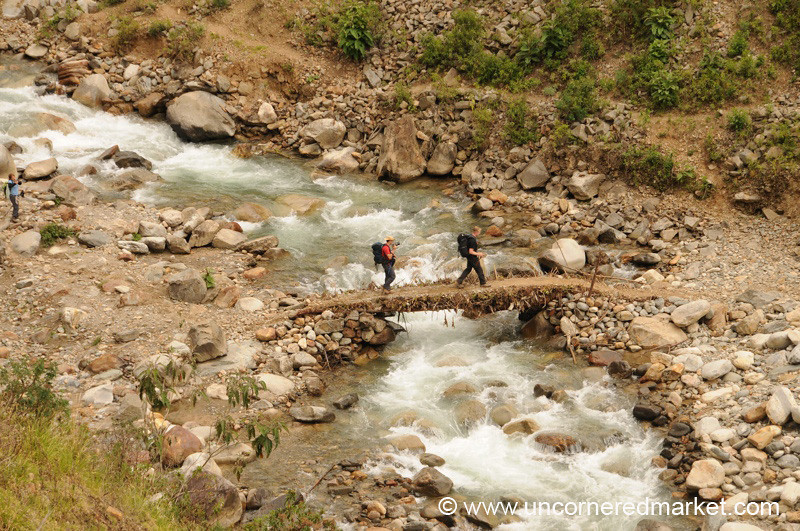 Crossing the Mud Bridge - Day 3 of Salkantay Trek, Peru