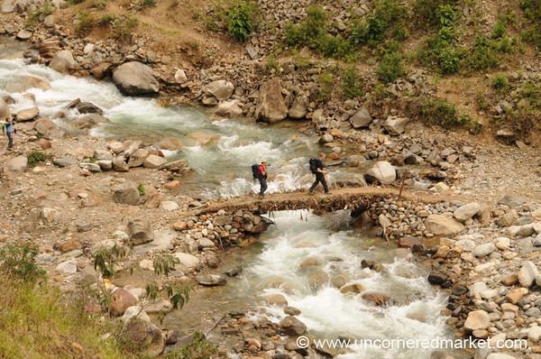 Crossing the Mud Bridge - Day 3 of Salkantay Trek, Peru