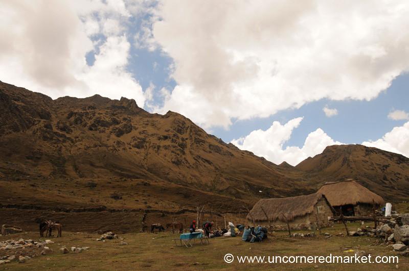 Lunch Below the Pass - Day 2 of Salkantay Trek, Peru