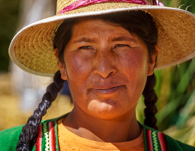 Portrait of local woman living on the intriguing floating islands.