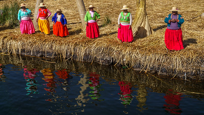 The colorfully dressed ladies of Lake Titicaca.