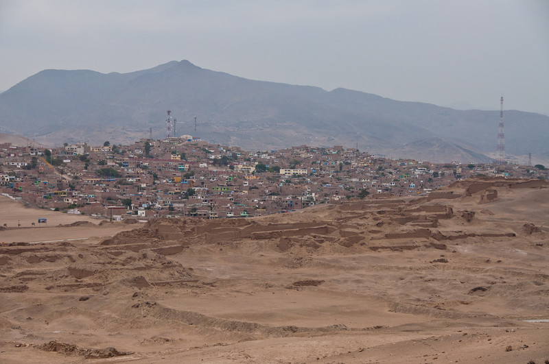 View of adobe homes from Pachamanca Ruins, Lima, Peru