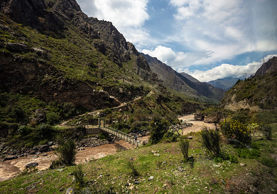 Inca trail footbride over Urubamba River