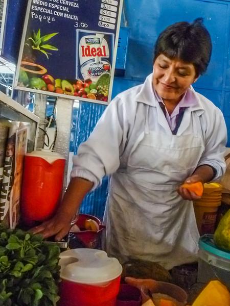 Fresh squeezed juices at San Pedro Market Cusco, Peru
