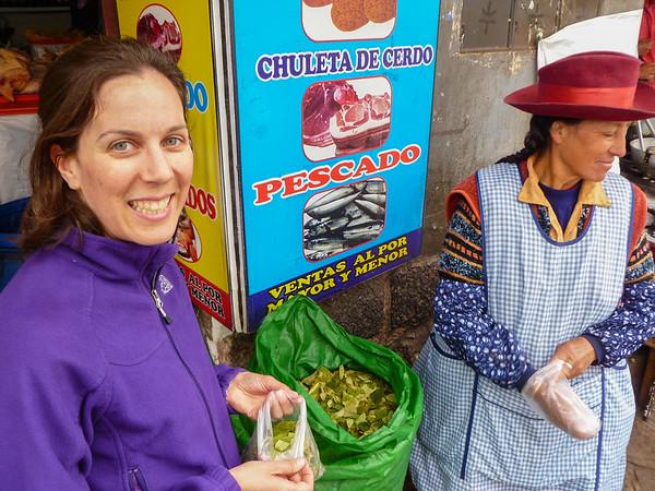 Buying coca leaves at San Pedro Market (Mercado Central de San Pedro) in Cusco, Peru