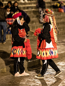 greeting dancers Plaza Mayor Cusco