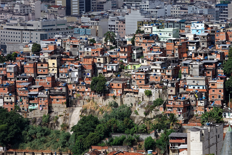 Favela with many satellite dishes