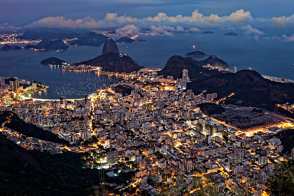The view of Rio from the top of the Corcovado, dusk