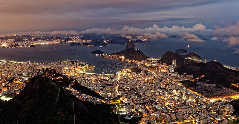 View of Rio from the Corcovado (the mountain where Christ stands) at nightfall