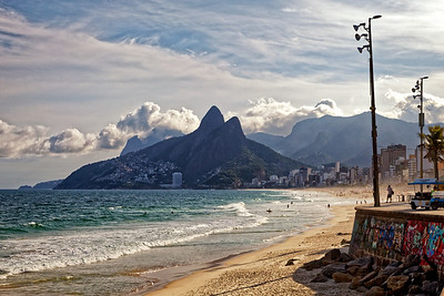 View along Ipanema beach towards Dois Irmãos, or Two Brothers mountains