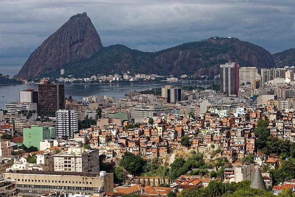 View from Santa Teresa over a favela towards Sugar Loaf Mountain