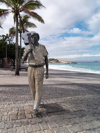 Bossanova legend Tom Jobim, who wrote the Girl from Ipanema, on Ipanema Beach
