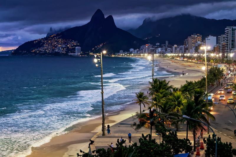Ipanema Beach at dusk, Rio