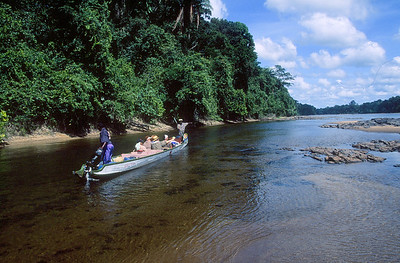 Central Suriname Nature Reserve - Coppename River, tourists in boat