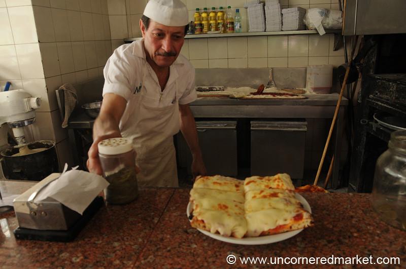 A 25 cm Slice of Pizza in Montevideo, Uruguay