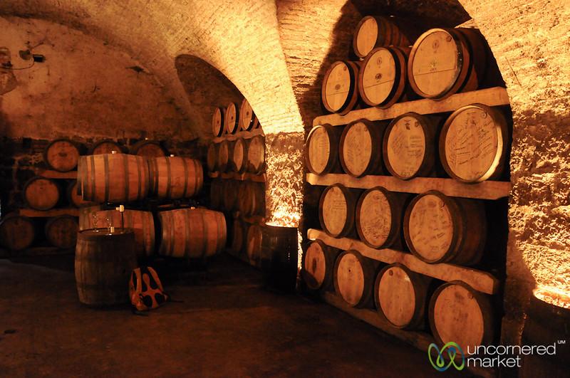Oak Barrels Piled High - Juanico Winery, Uruguay