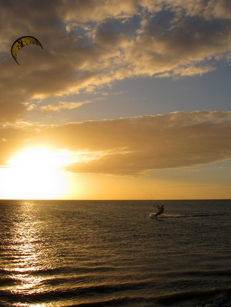"""Kite surfing at sunset time in Isla de Coche, Venezuela For the story, check out: <a href=""""http://www.nomadbiba.com/wp/2011/03/isla-de-coche-a-break-from-rutine/"""">Isla de Coche, a break from routine</a>"""