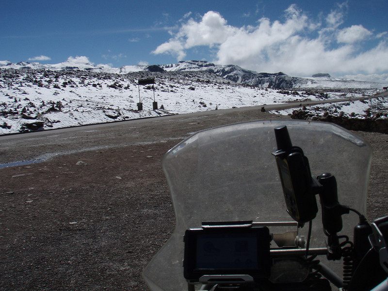 Snow at 4900 meters. Near Chivay and above the Colca Canyon.