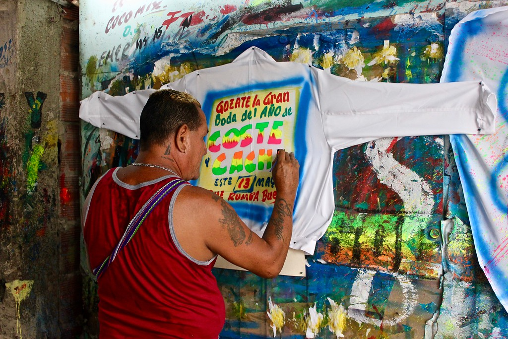 painting ads for Champeta parties in the Barzurto Market Cartagena Colombia