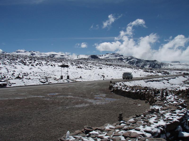 Snow at 4900 meters.
