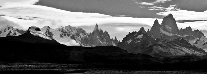 Cerro Torre and Fitz Roy - Argentina<br /> <br /> This photo was taken through the window of a moving bus!