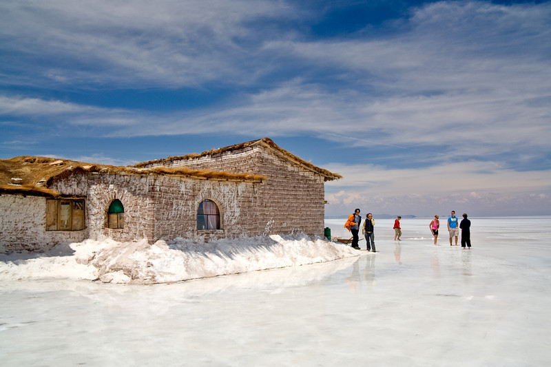 Salt Hotel<br /> <br /> The building in this photo is a hotel made entirely of salt. The salt flat is several meters deep, and locals cut blocks from it for use in construction. Entire buildings are routinely built from salt bricks.