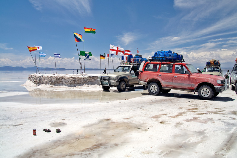 Salar de Uyuni - Tourist Destination<br /> <br /> The Salar de Uyuni is a popular tourist destination for travelers from around the world as seen by these flags.