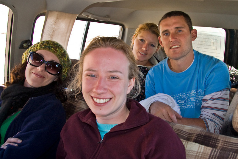 Sarah, Emma, Rita, and Paul in the Land Cruiser