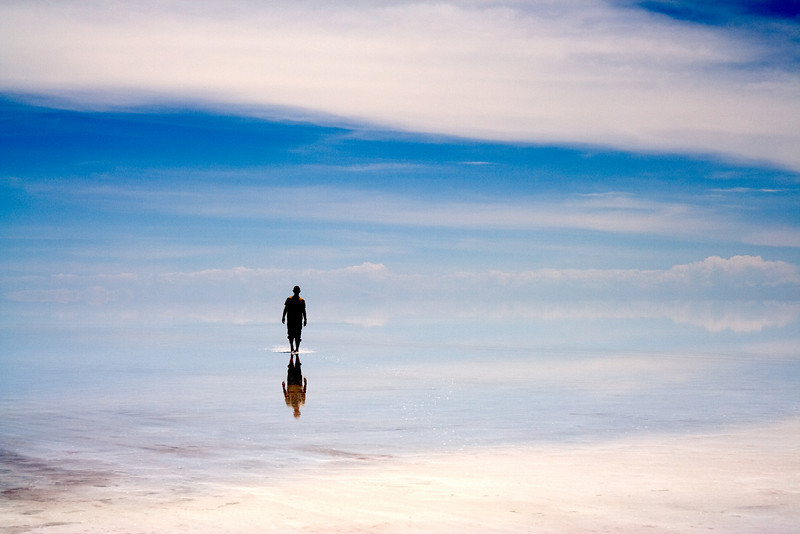 Salt Flat Reflection<br /> <br /> A thin layer of water on top of the salt flat provides a mirror-like reflection all the way to the horizon.
