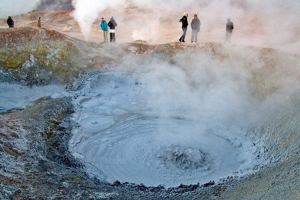 Bubbling Cauldrons of Mud, Bolivia  The freezing environment at 4,500 m (14,700 ft) insures lots of steam from volcano-fueled cauldrons of boiling mud.
