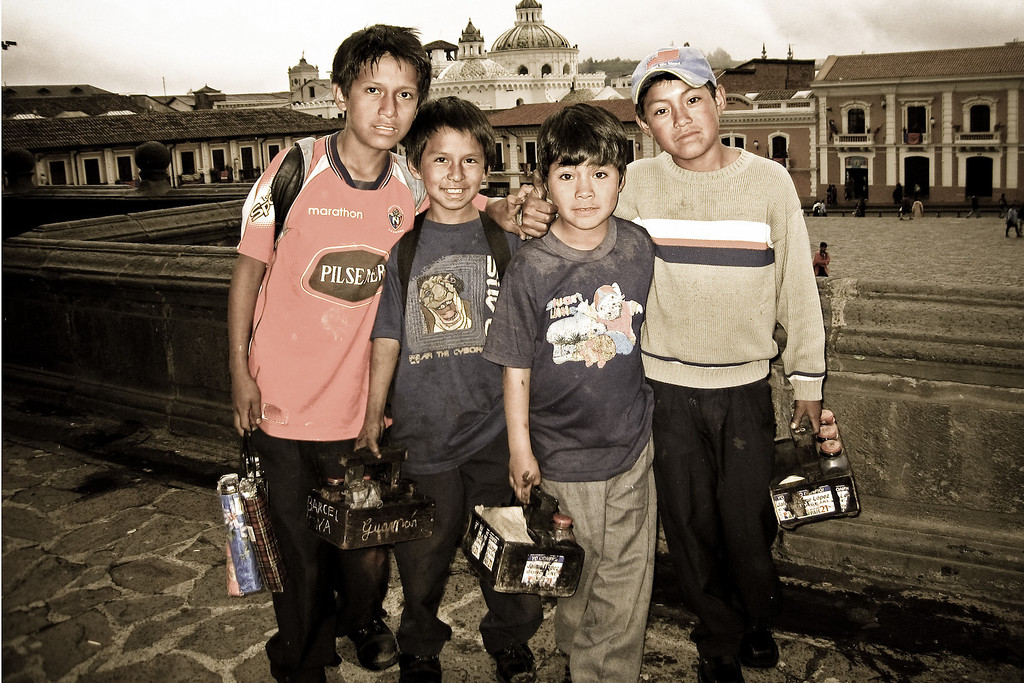 Shoeshine Boys - Quito, Ecuador<br /> <br /> In Ecuador it is common for kids to leave school to earn money.  These kids are working as shoeshine boys in Plaza de San Francisco, surrounded by colonial buildings and churches, in old town Quito.