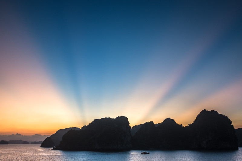 Sunset over Ha Long Bay