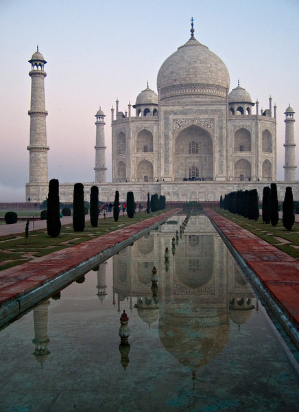 Taj Mahal, Agra.  Our judgment was that the structure was best appreciated from afar, but I suppose it's difficult not to feel mildly underwhelmed after all the hype.