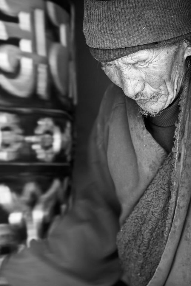 Local man with prayer wheel