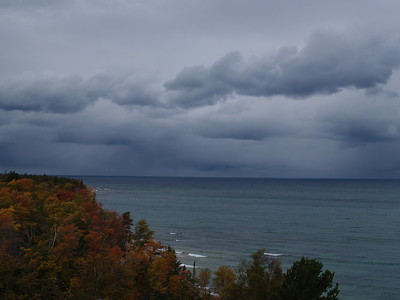The approaching storm that hit about 15 minutes later from the catwalk of the lighthouse.