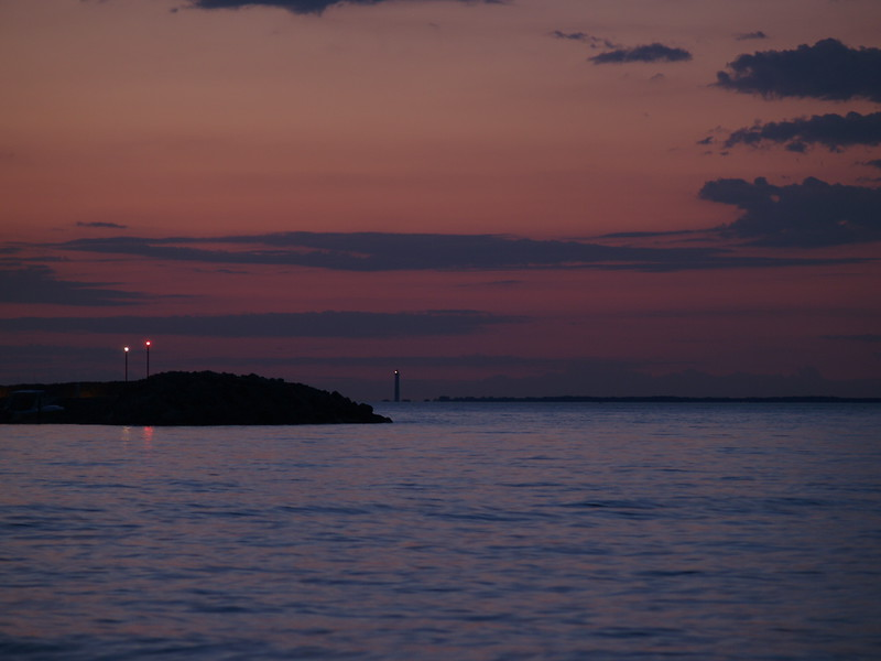 Looking toward South Bass Island with Perry's Monument in the far distance. It is lit at night because of the proximity of the South Bass Island airport.
