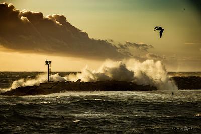 Waves Pound the Redondo Beach Harbor Breakwater, 1/20/17