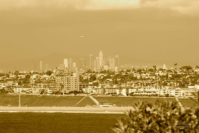 Downtown LA as seen from Palos Verdes, nearly 30 miles away.