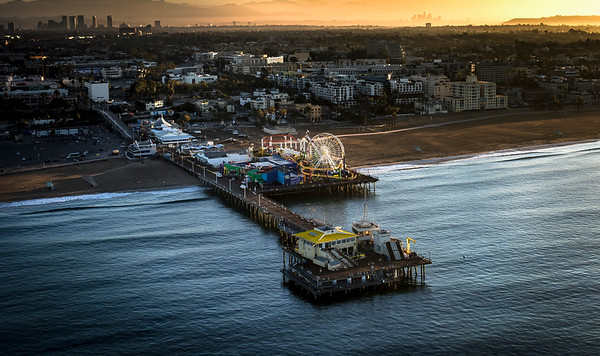 Sunrise Aerial Image of the Santa Monica Pier