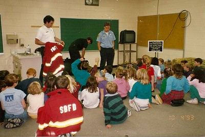 South Burlington Fire Department Scanned Cataloged image of members conducting fire safety education in local school. Exact location unknown.