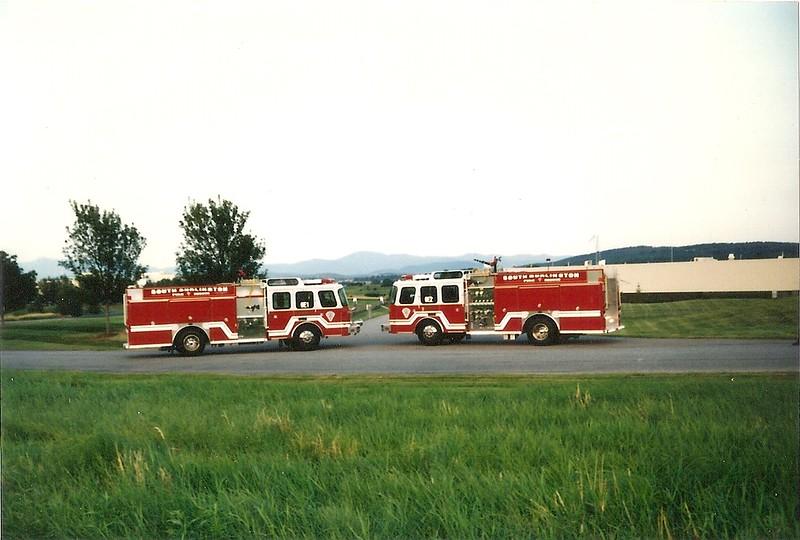 South Burlington Fire Department Scanned Image New E1 and E2. South Burlington Vermont, 1996