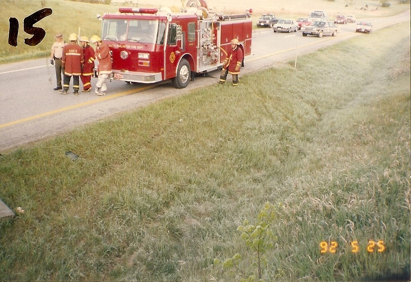 South Burlington Fire Department Scanned Image of Department response to Interstate 89 Motor vehical accident, date unknown.