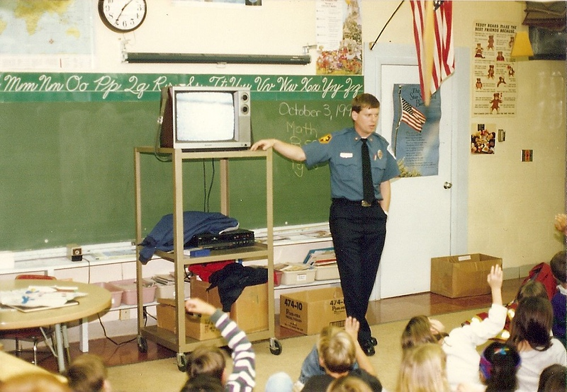 South Burlington Fire Department catalog scanned image of members conducting fire safety education at a local school