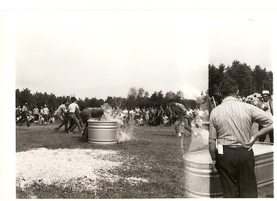 Scanned Cataloged image of members at a firemans muster, Date and exact location unknown