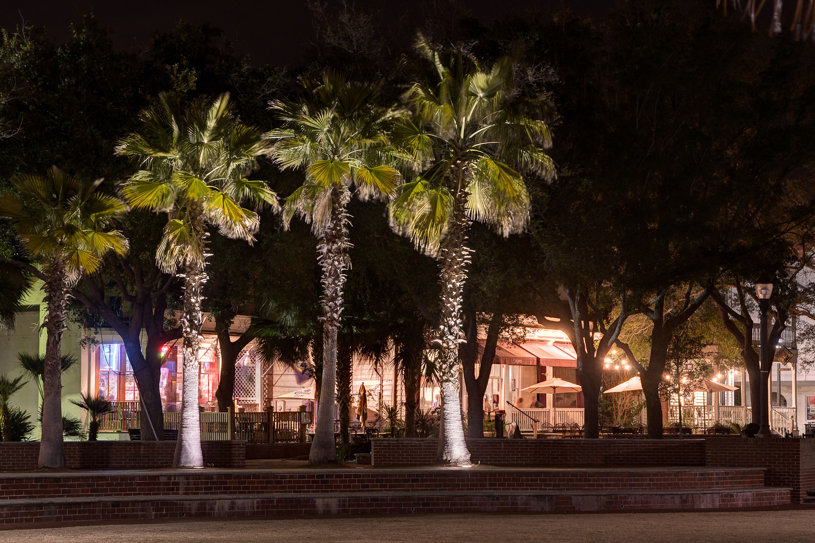 Peaceful night view of the Pavilion Park in Beaufort, SC on Saturday, February 21, 2015. Copyright 2015 Jason Barnette