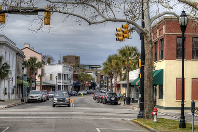 """View of an """"entrance"""" to the downtown district on Bay Street in Beaufort, SC on Sunday, February 22, 2015. Copyright 2015 Jason Barnette"""